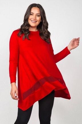 Womenice Kadın Kırmızı Eteği File Asimetrik Büyük Beden Tunik