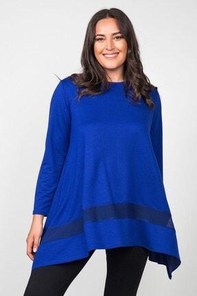 Womenice Kadın Saks Mavi Eteği File Asimetrik Büyük Beden Tunik