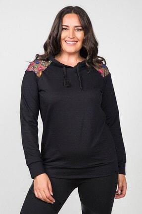 Womenice Kadın Siyah Omuzu Tüllü Renkli Çiçekli Büyük Beden Sweathshirt