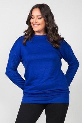Womenice Kadın Saks Mavi Düz Kesim Büyük Beden Sweatshirt