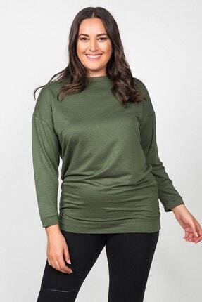 Womenice Kadın Haki Düz Kesim Büyük Beden Sweatshirt