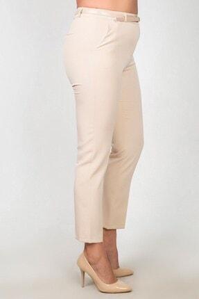 Womenice Kadın Krem Yüksek Bel Klasik Kumaş Pantolon