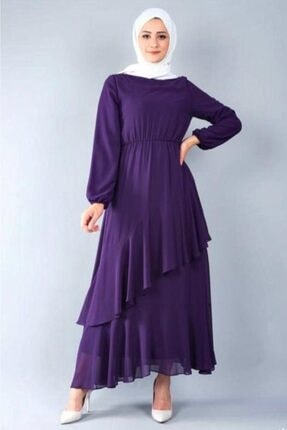 adressbutik Kadın Mor Asımetrik Volanlı Şifon Elbise