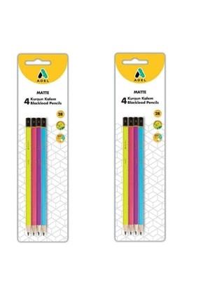 Adel 2 Adet 4'lü Kurşun Kalem Seti Canlı Renkler Blister