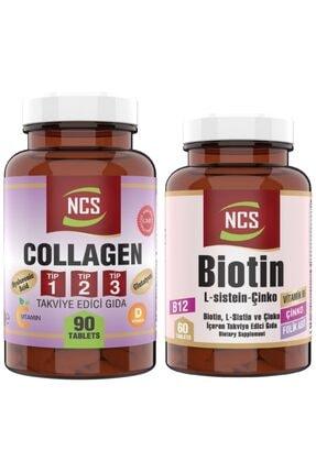 NCS Tip 1-2-3 Collagen (kolajen) 1000 Mg 90 Tablet Biotin 60 Tablet 2 Ürün 1 Arada