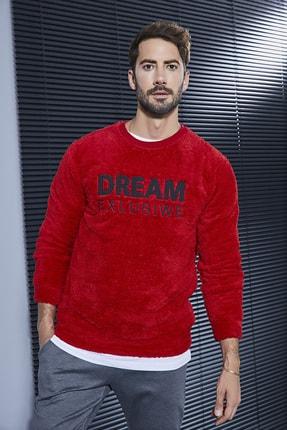 Sateen Men Erkek Kırmızı Nakışlı Basic Kürklü Sweat 20KSW760E103