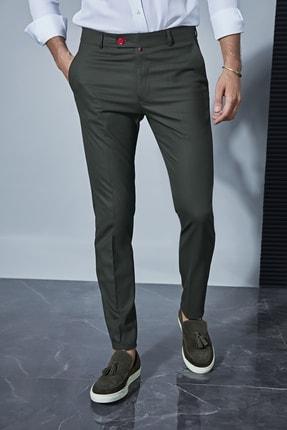 Sateen Men Erkek Haki Kumaş Pantolon