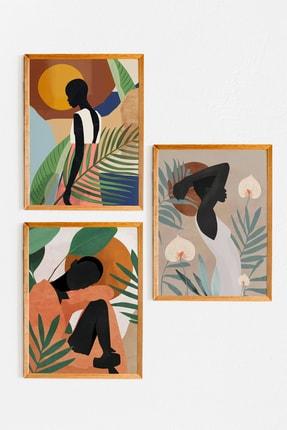 Nes-Art Nesart Ahşap Çerçeveli Afro Minimal 3'lü Tablo Set