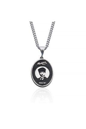 Gümüş Pazarım Atatürk Silüeti Erkek Gümüş Kolye