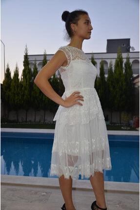 zeynep Kadın Beyaz Dantel Elbise