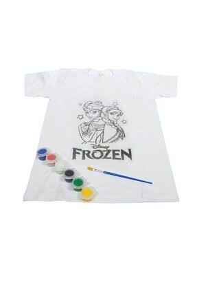 Rita Eğitim Unisex Materyalleri Frozen Desenli  Boyama Seti  T-shirt