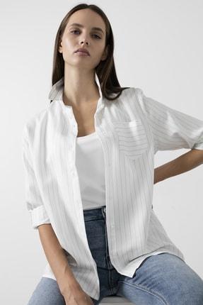 Lela Kadın Çizgili Cepli Katlanabilir Kollu Gömlek Gömlek 59119326cız