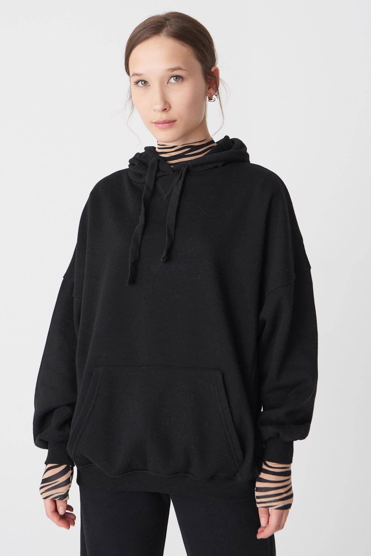 Addax Kadın Siyah Kapüşonlu Sweatshirt ADX-0000014040 2