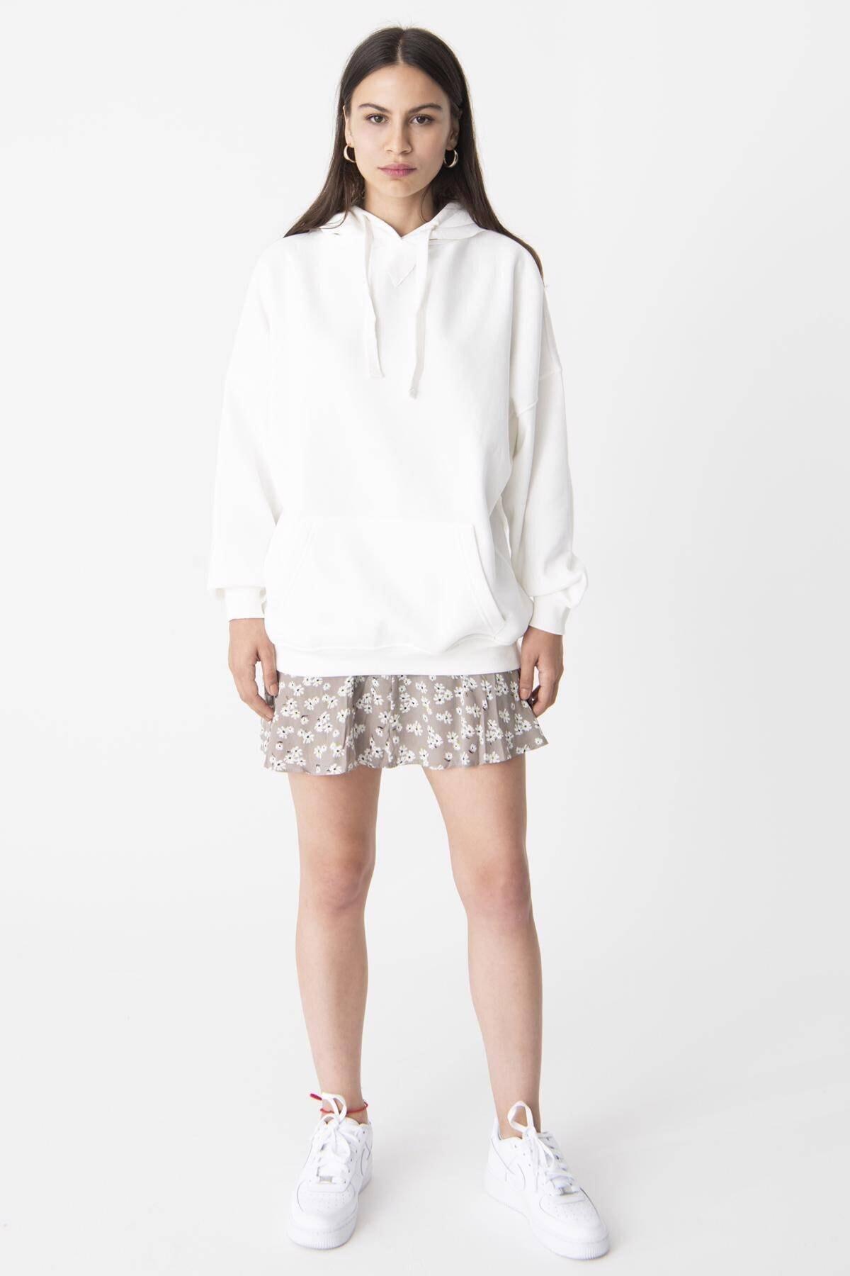 Addax Kadın Ekru Kapüşonlu Sweatshirt ADX-0000014040 2