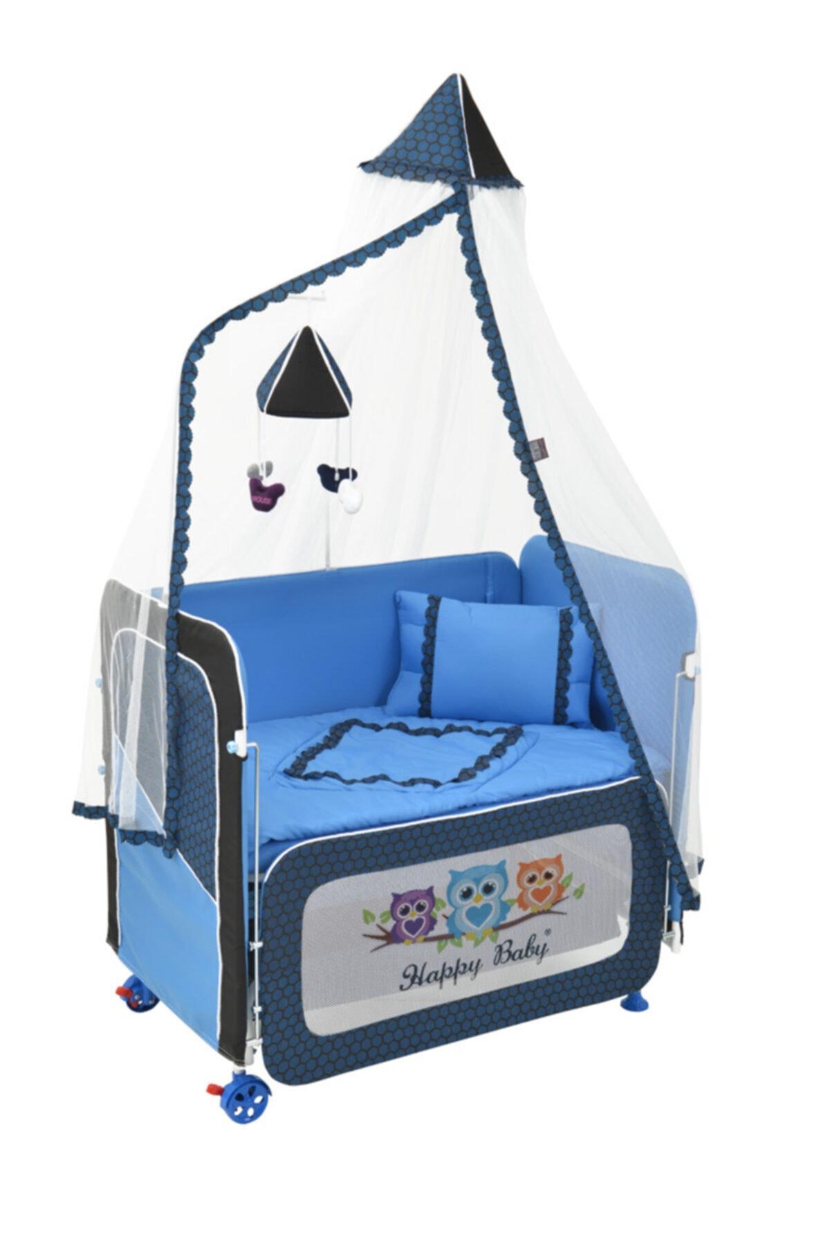Happy Baby Mavi Anne Yanı Plus Asansörlü Beşik 1