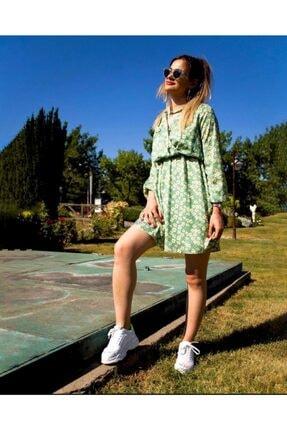 Yare Kadın Yeşil Çiçek Desenli  Mıellbutık Elbise