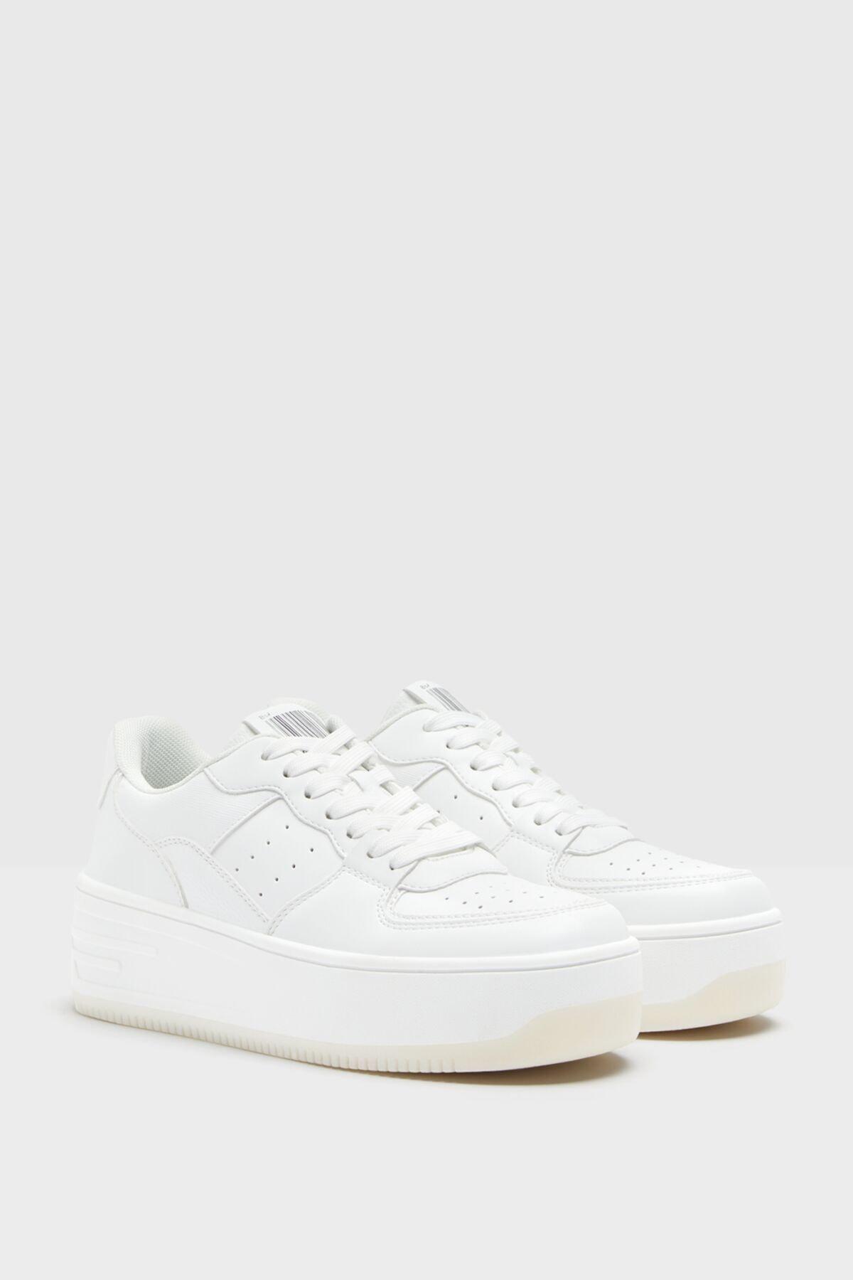 Bershka Kadın Beyaz Mikro Delikli Platform Tabanlı Spor Ayakkabı 1