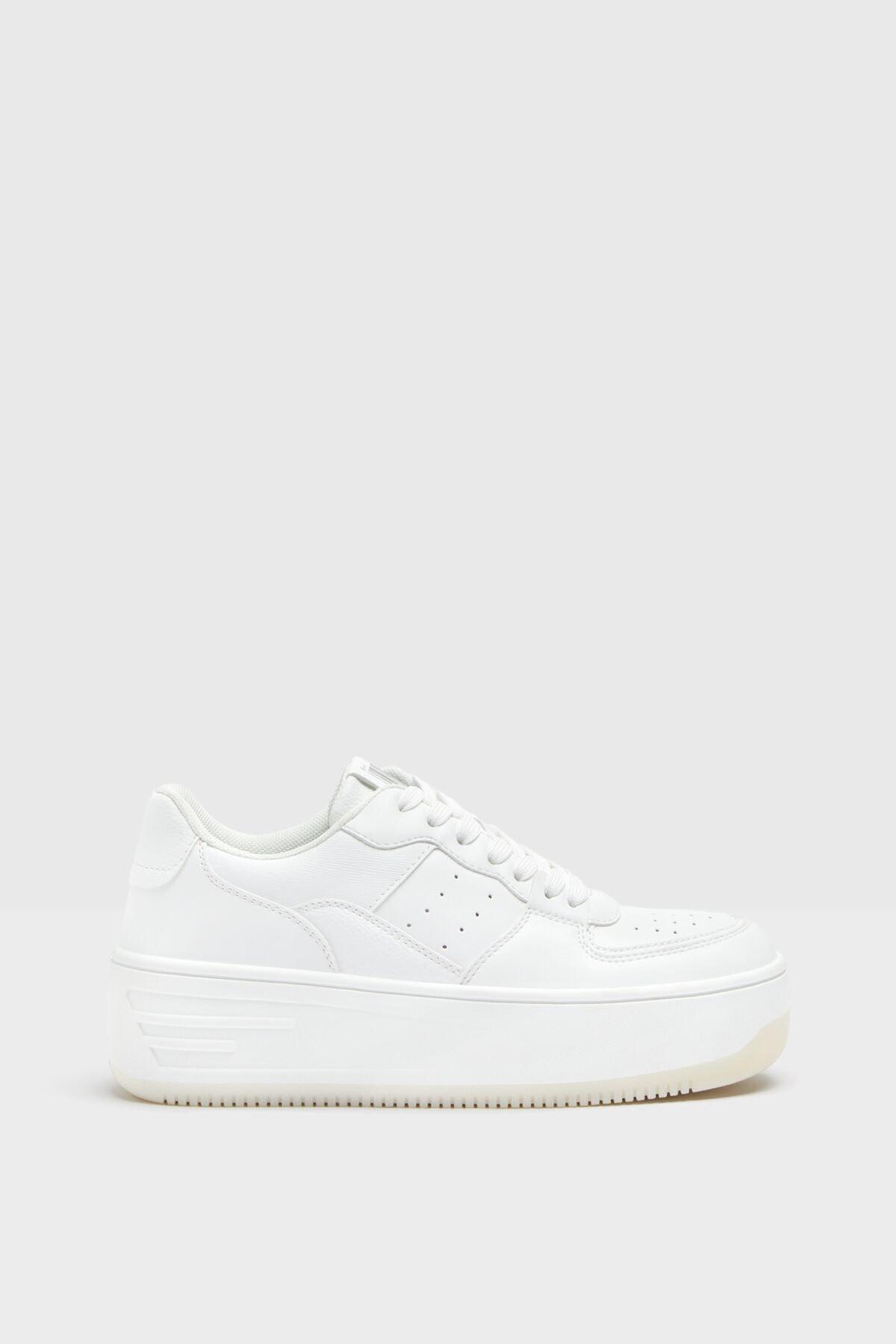 Bershka Kadın Beyaz Mikro Delikli Platform Tabanlı Spor Ayakkabı 2