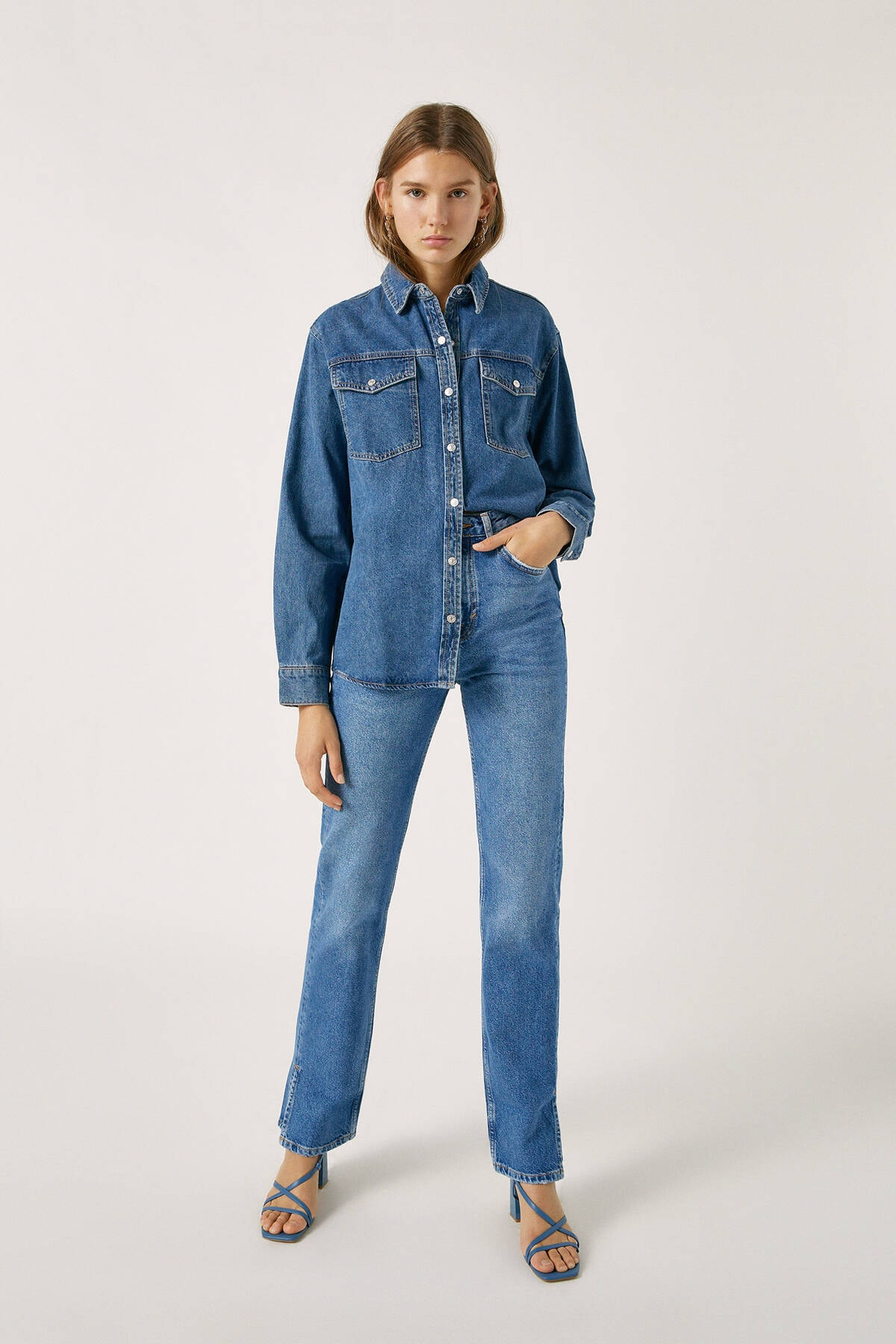Pull & Bear Kadın Mavi High Waist Jeans With Seam Detail 09683326