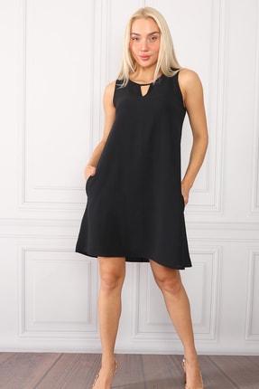 Lockam collection Kadın Siyah Aırobin Keten Cep Detaylı Elbise