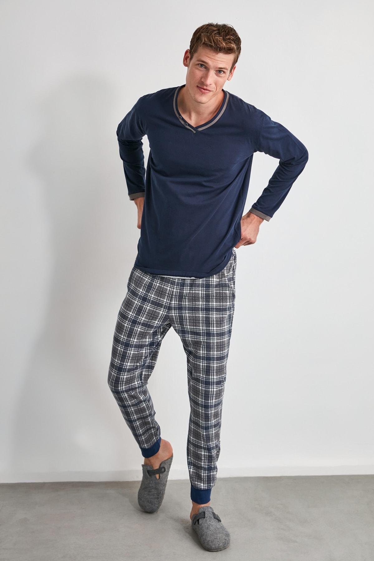 TRENDYOL MAN Ekoseli Örme Pijama Takımı THMAW21PT0403 2
