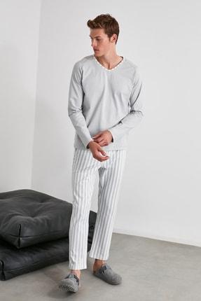 TRENDYOL MAN Mavi Çizgili Örme Pijama Takımı THMAW21PT0399