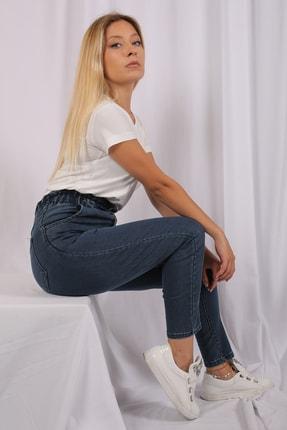 Rosa Montana Kadın Mavi Beli Lastikli Yüksek Bel Likralı Jean Pantolon