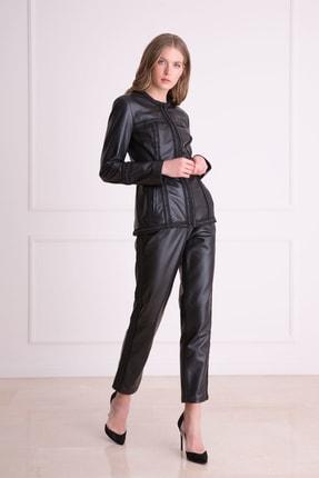 xGIZIA Kadın Siyah Yan Şerit Detaylı Deri Pantolon