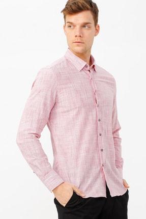 ALTINYILDIZ CLASSICS Erkek Bordo-Beyaz Tailored Slim Fit Çizgili Gömlek