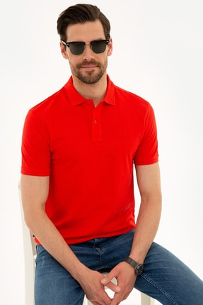 Pierre Cardin Nar Çiçeği Slim Fit Basic Polo Yaka T-Shirt