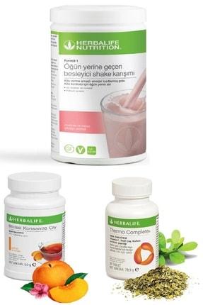 Herbalife Set Ahududu Beyaz Çikolata Shake 50 gr Şeftali Aromalı Çay Thermo Complete