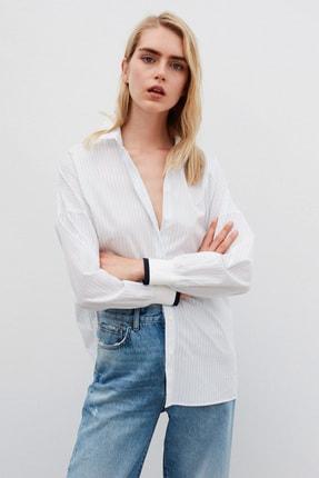 İpekyol Kadın Beyaz Mavi Çizgili Desen Gömlek