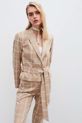 İpekyol Kadın Bej Ekose Desen Ceket