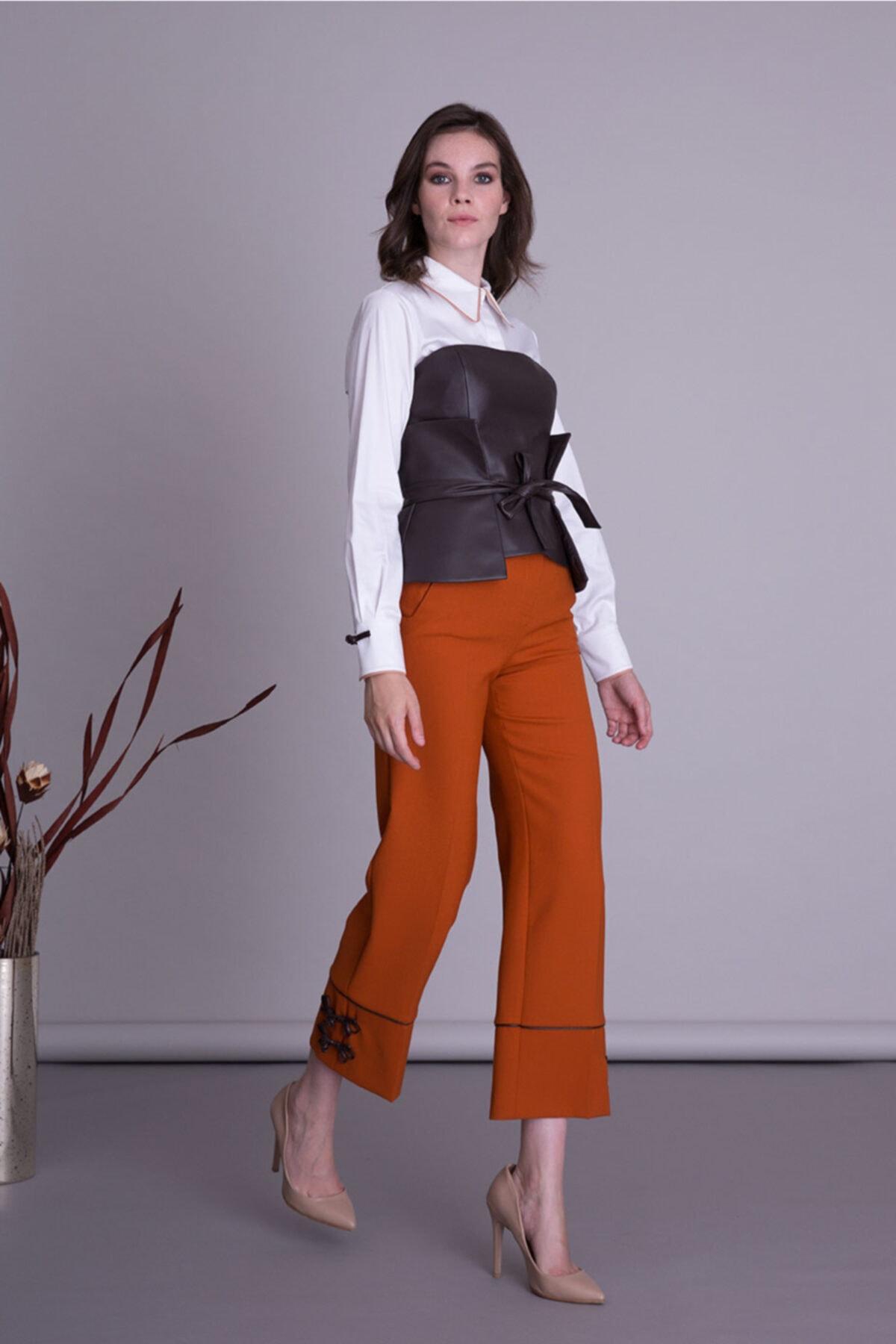 GIZIA CASUAL Kadın Turuncu Kumaş Pantolon 1