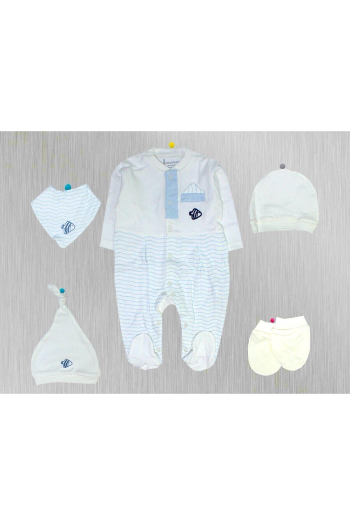 Bebbek Bebek Mavi Nenny Baby Happy Moon 5'li Zıbın Set Yenidoğan Hastane Çıkışı 1