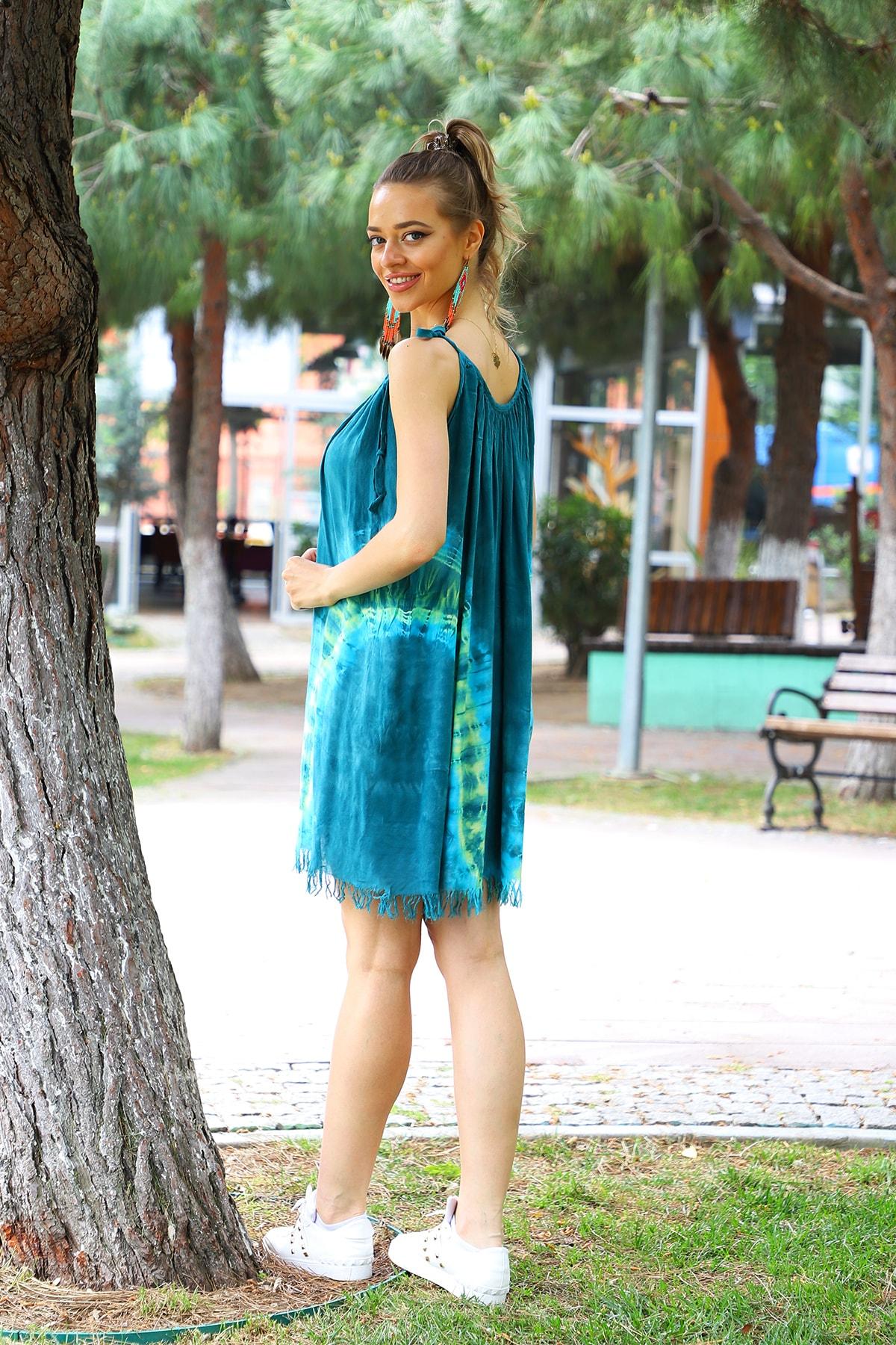 YILSOY TEKSTİL Kadın Yeşil V Desen Batik Elbise 2