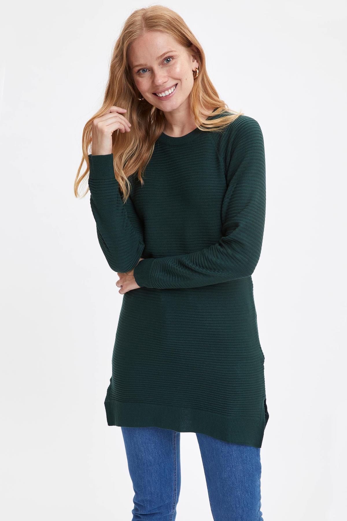 DeFacto Kadın Yeşil Triko Tunik L6333AZ20WN