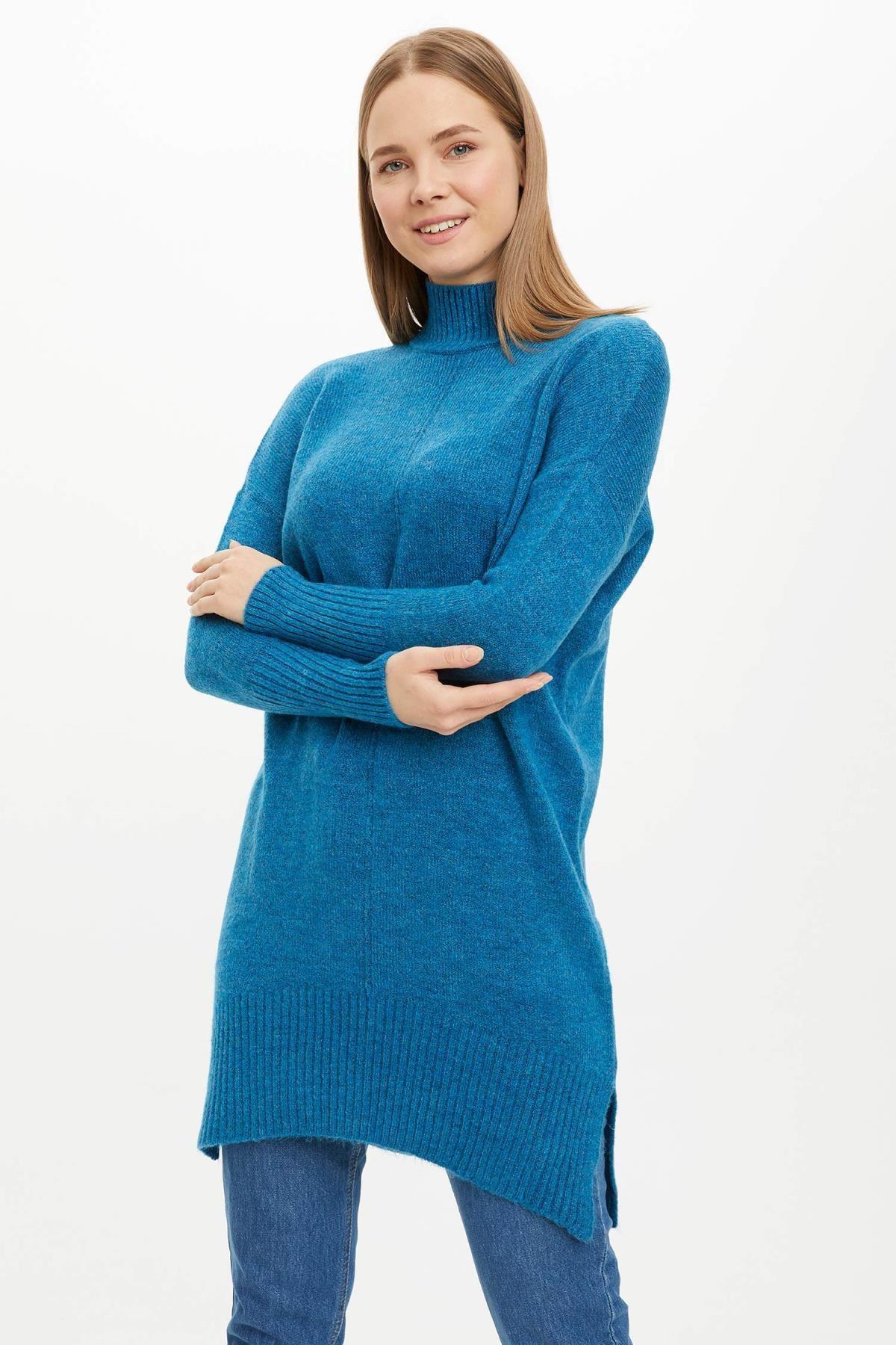 DeFacto Kadın Mavi Düşük Kol Detaylı Triko Tunik J2913AZ20WN