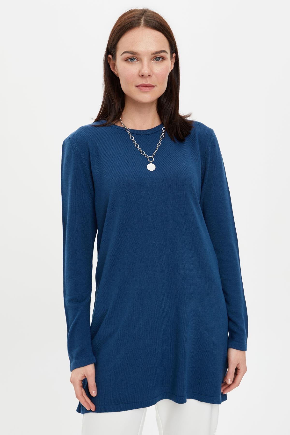 DeFacto Kadın Çivit Mavisi Triko Tunik H3431AZ20AU