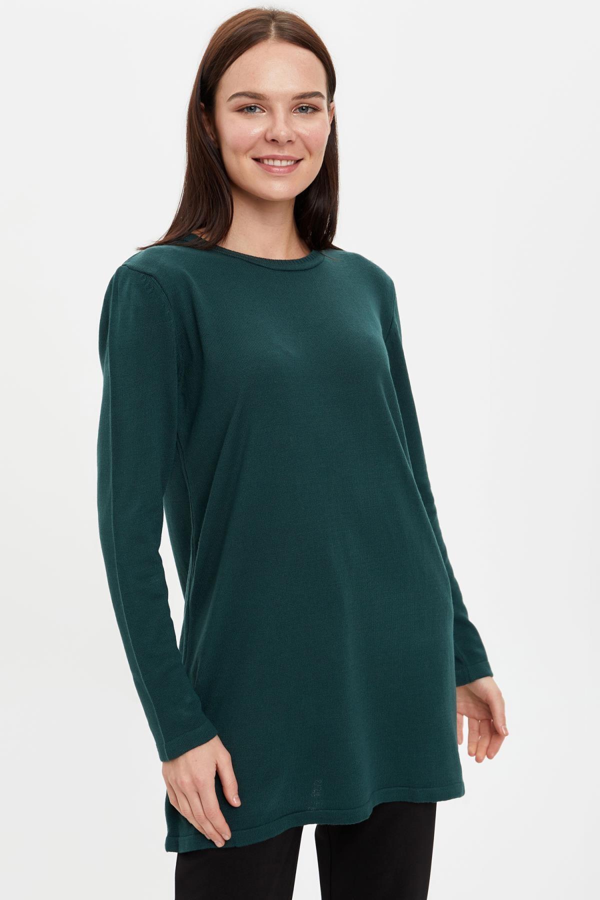 DeFacto Kadın Yeşil Triko Tunik H3431AZ20AU