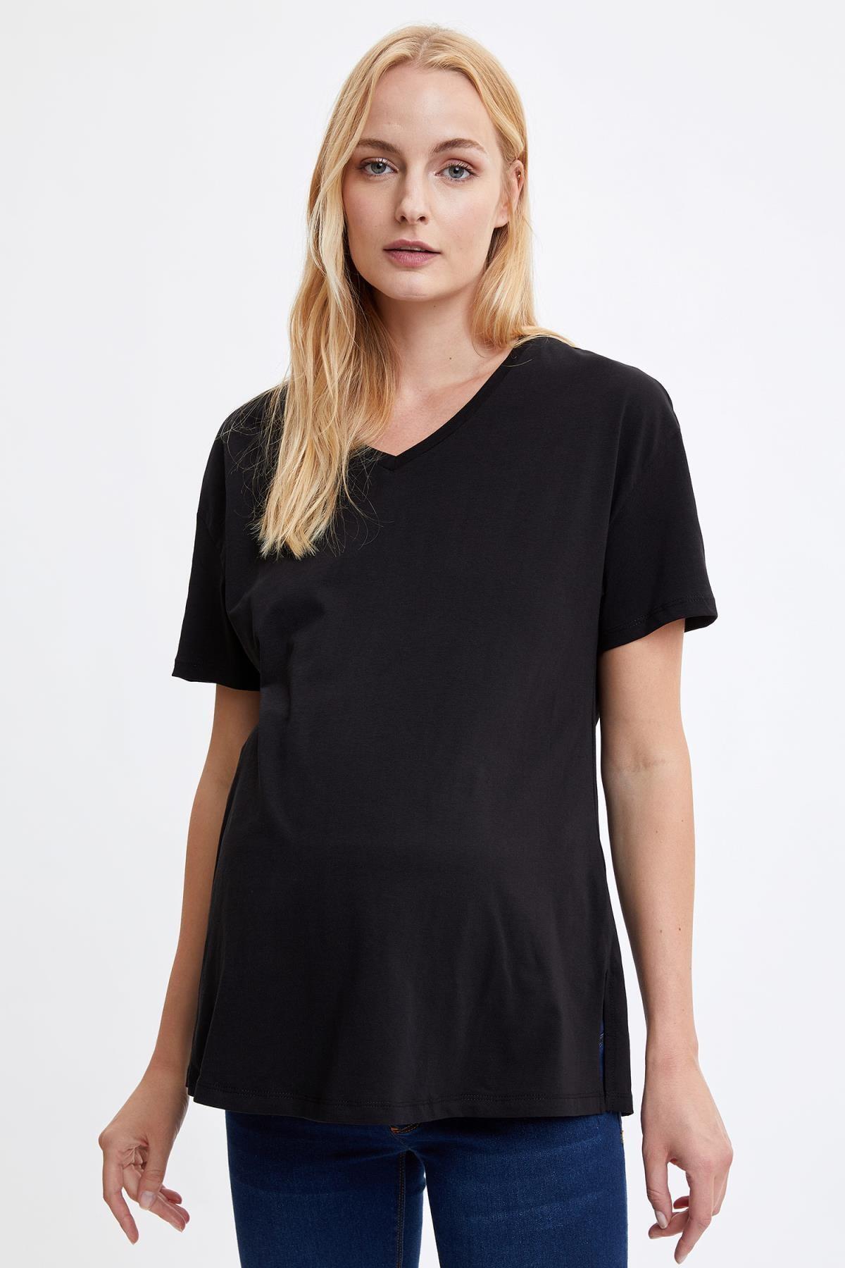 DeFacto Kadın Black Red Relax Fit Kısa Kollu Hamile T-Shirt N1670AZ20AU