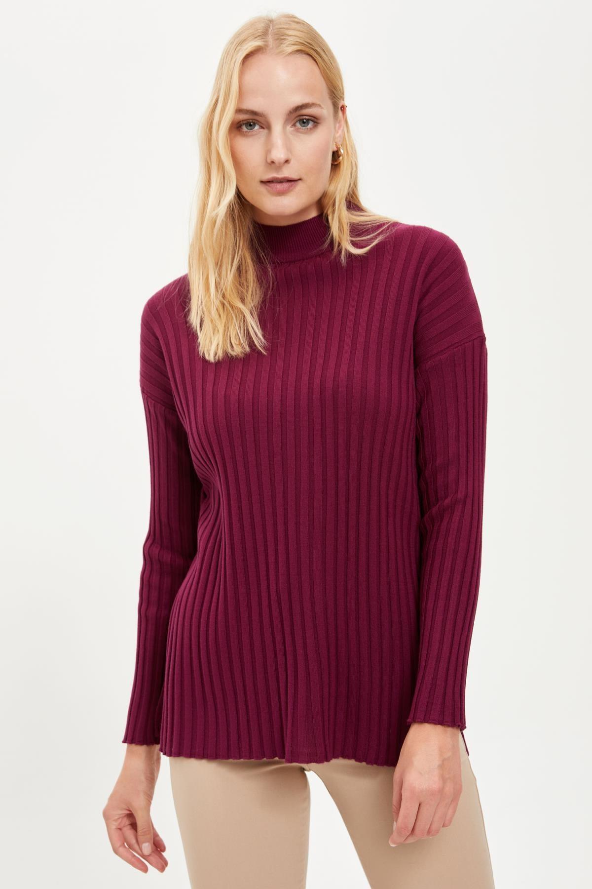 DeFacto Kadın Purple Regular Fit Düşük Kollu Triko Tunik R1206AZ20WN