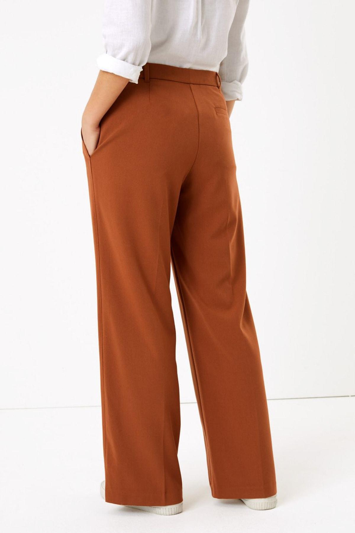 Marks & Spencer Kadın Kahverengi Wide Leg Pantolon T59006637 2