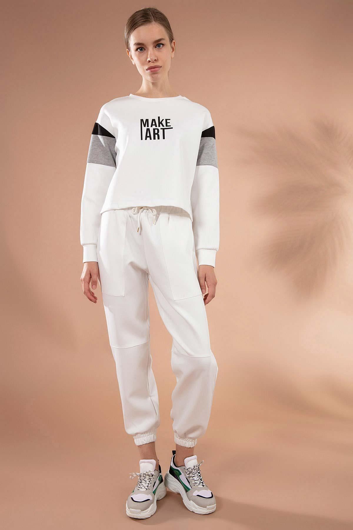 Y-London Kadın Beyaz Torba Cep Detaylı Paçası Lastikli Eşofman Altı Y20W166-3885 1
