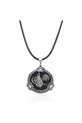 Gümüş Pazarım Osmanlı Tuğralı Erkek Gümüş Kolye
