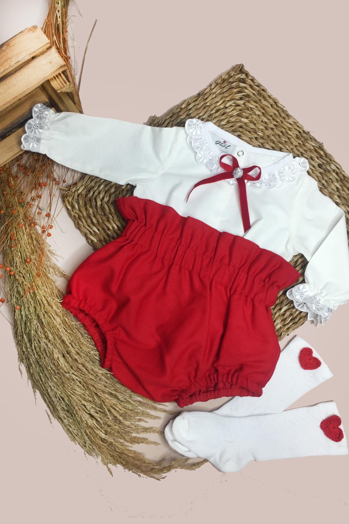 GİST Kız Bebek Kırmızı Gabardin Romper Beyaz Yakası Kolları Dantel Detaylı Bluz Takım 2