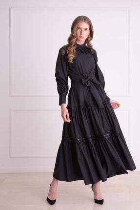 xGIZIA Kadın Siyah Güpür Işlemeli Siyah Uzun Elbise