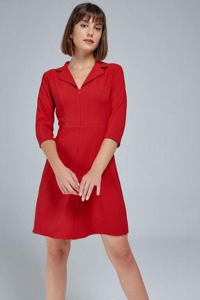 Appleline Kadın Kırmızı Fermuarlı Ceket Yaka Elbise
