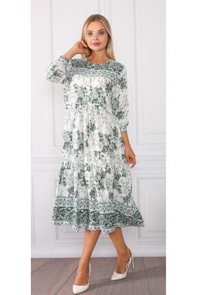 DMR Kadın Yeşil Beyaz Dokuma Viskon Düğmeli Elbise
