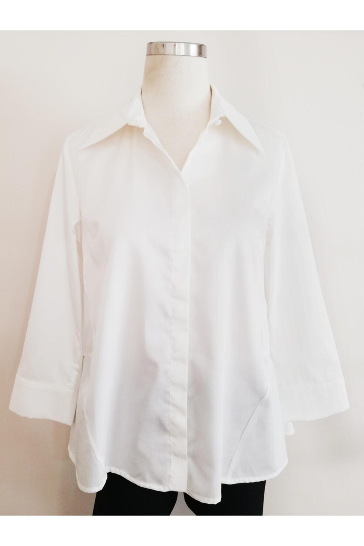 Vekem Kadın Beyaz Pamuk Gömlek 1